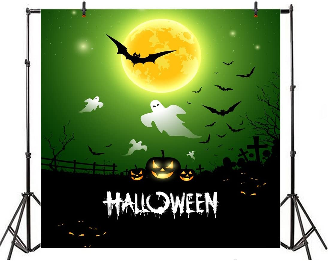 Leowefowa Cartoon Halloween Poster Background 10x10ft Vinyl Photography Backgroud Green Sky Full Moon Flying Bats Gloomy Tomb Grimace Pumpkin Lantern Horror Night Spooky Party