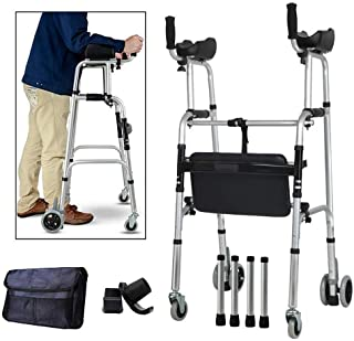 Wheel Walking Frame with Armrest Support Pad Thick Aluminum Alloy Rehabilitation Auxiliary Walking Frame Elderly Walking Aid Height Adjustable (Color : Fourwheels+Seats+Bag)