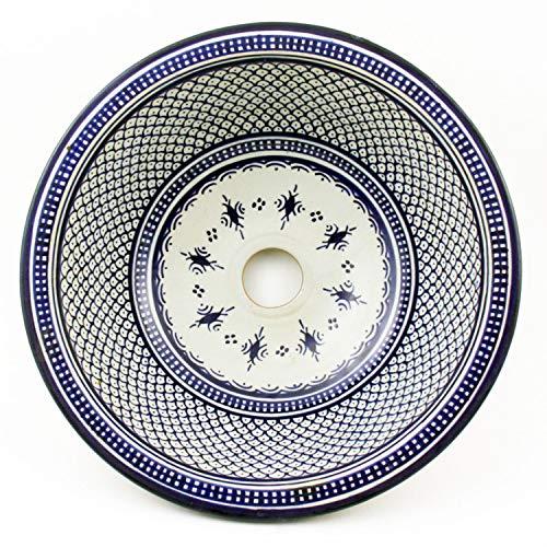 Casa Moro Orientalisches Keramik-Waschbecken Fes32 Ø 35 cm handbemalt   Marokkanisches Handwaschbecken für Küche Badezimmer Gäste-Bad   Einfach schöner Wohnen   WB35203
