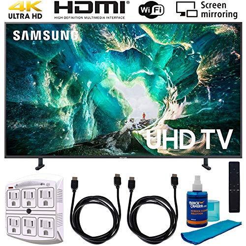 Samsung UN55RU8000 55' RU8000 LED Smart 4K UHD TV (2019) w/Accessories Bundle Includes, 2X 6ft HDMI Cable, Universal Screen Cleaner (Large Bottle) and SurgePro 6-Outlet Surge Adapter w/Night Light