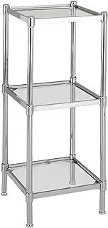 Organize It All 3 Tier Tempered Glass Freestanding Bathroom Storage Tower