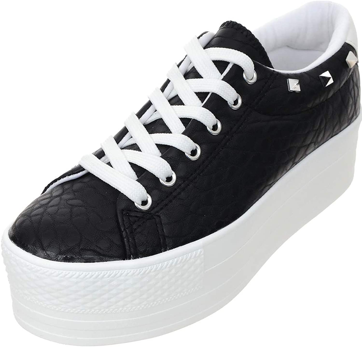 Maxstar Women's C7 6Holes 50 Synthetic Leather White Platform Jewel Decoration Low Top Sneakers