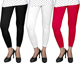 BeBBanBurg® Combo Women's & Girl's Lycra Ankle Length Free Size Leggings Pack of 3(Red, White, Black)