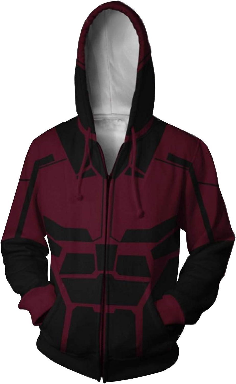 Mens Hoodie Hero Costume Creative Printing Zip Max 80% OFF Up Max 85% OFF Jacket