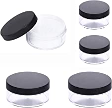 5pcs Empty Powder Makeup Containers, Granmp 50G 30G Plastic Makeup Travel Containers Empty Cosmetic Jars Powder Puff Case Face Powder Blusher Makeup Containers with Sifter Lids