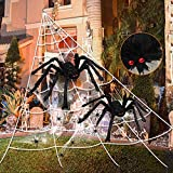 "276"" Spider Webs Halloween Decorations, 36"" Giant Spider+20""Large Scary Fake Spider+40g Stretch Cobweb with 12 Small Spiders for Outdoor Yard Lawn Home clearance Party Haunted House Decor"