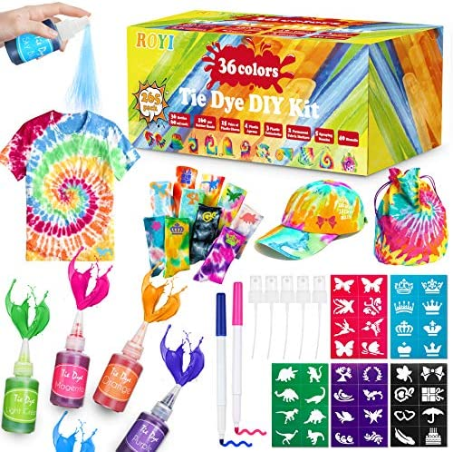 Tie Dye Kit, 32 Colors Shirt Dye Kit for Kids, Adults,User-Friendly, 198 Packs Add Water Only Indoor and Outdoor Activities Supplies DIY Dyeing Kit, Creative Tie-Dye Kit Perfect for Party Group