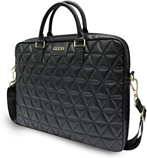 """CG Mobile Guess Genuine Synthetic Leather 15"""" Quilted PU Computer Bag for Laptop and Tablets, Lightweight Slim Laptop Bag Officially Licensed (Black)"""