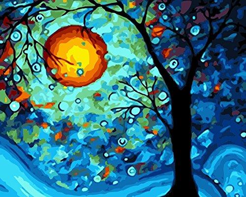 TianMai Neu Malen nach Zahlen - Traum Baum 16 * 20 Zoll Leinen Segeltuch - Digitales Ölgemälde Segeltuch Wand Kunst Grafik für Weihnachten Decor Decorations Geschenke - DIY Farbe durch Zahl DIY Segeltuch-Kit für Erweiterte Erwachsene Kinder Senioren Junior (Ohne Frame)