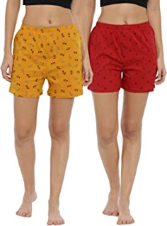 JOVEN Women's Yellow and Red Boxer Pack of 2
