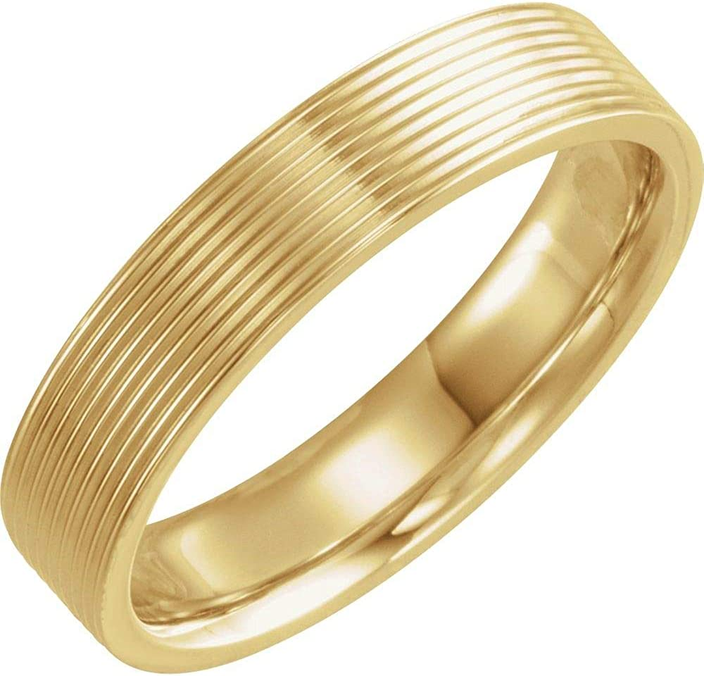 Solid 14k Yellow Gold 5mm Ridged - Luxury Comfort quality assurance Ring Wedding Fit Band