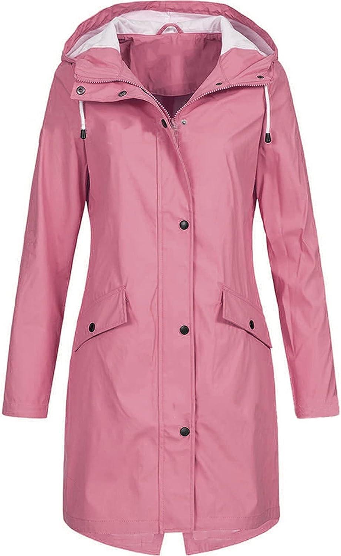 Rain Jacket Women Hooded Lightweight Raincoat Outdoor Waterproof Hooded Rain Jacket Windbreaker Hiking Travel