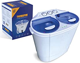 Garatic Portable Compact Mini Twin Tub Washing Machine w/Wash and Spin Cycle, Built-in Gravity Drain, 13lbs Capacity For C...