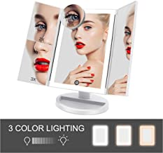 Lighted Vanity Makeup Mirror with Lights- 3 Color Lighting Modes Trifold 36 LED 2X/3X/10X Magnification Touch Screen Dimming Cosmetic Desk Tabletop Portable Mirror 180° Rotation Dual Power Supply