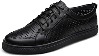 XUJW-Shoes, Fashion Outdoor Sneakers for Men Casual Flat Running Walking Shoes Lace up Durable Comfortable Walking Leather Summer Breathable Perforated (Color : Black, Size : 7.5 UK)