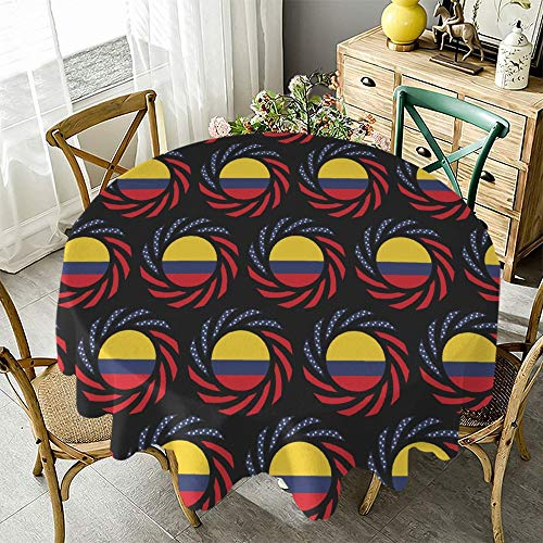 """Fashion Round Tablecloth Colombian Flag Desk Cloth for Dining Party Fits Tables Up to 48"""" - 70"""" Diameter"""