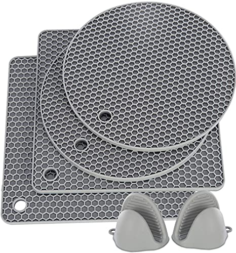 HAUSPROFI Silicone Trivet, 6pcs Extra Thick Table Mat with Premium Pot Holder, 18.5cm Heat Resistant Non-Slip Hot Pot Pads and Oven Mitt for Kitchen Cooking Dining Microwave, Square and Round, Gray