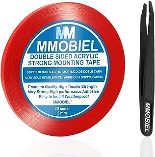 MMOBIEL 2mm Cinta adhesiva fuerte de acrílico doble cara para montaje, Largo: 30m Resistente a la intemperie y Removible