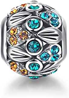 """i'ange's Blueish Bead Charms with Colorful Crystals, 925 Sterling Silver Charms for Bracelets"""" Carnival Series"""""""