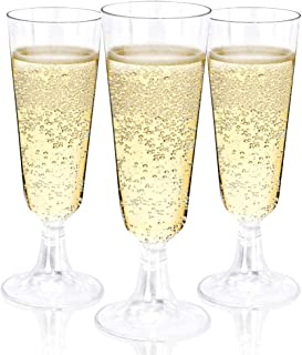BUCLA 100 Pack Clear Plastic Champagne Flutes- 5OZ Plastic Champagne Gl- Premium Quality Clear Disposable Cups-Ideal for P...