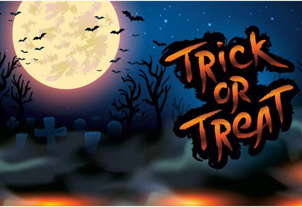 Leowefowa Trick Or Treat Party Backdrop 12x8ft Vinyl Cartoon Gloomy Full Moon Flying Bats Spooky Foggy Cemetery Illustration Photography Background Child Baby Photo Shoot Wallpaper
