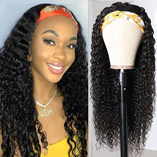 Headband Wigs Deep Wave Brazilian Virgin Hair None Lace Front Wigs Human Hair For Black Women Curly Wave Natural Color Machine Made Wigs with Headbands 150% Density (16INCH, Headband Deep)