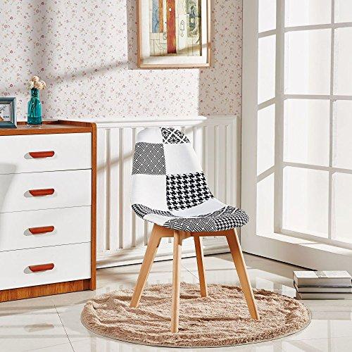 P&N Homewares Fabia Esstisch-Set 1 Esstisch und 4 Fabia schwarz und weiß Patchworkstühle Set Retro Moderne Stühle Moderne Retro zeitgenössische skandinavische Möbel (nur 4 Patchworkstühle)