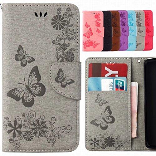 Yiizy Etui Coque Samsung Galaxy J7 (2017) / J730F Etui, Butterfly Design Pochette Coque Housse Cuir Flip Cover Silicone TPU Coquille Portefeuille Média Fente pour Carte Protecteur Poche (Gris)