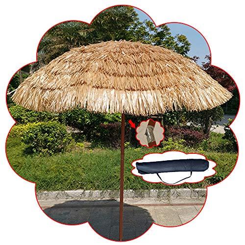 Parasol De Jardin en Paille D'imitation, De Plage De 1,8 M, Auvent en Tissu De Polyester Hawaïen PP Grass / 190T, Inclinable/Ouverture Manuelle, Couleur Naturelle (sans Base)
