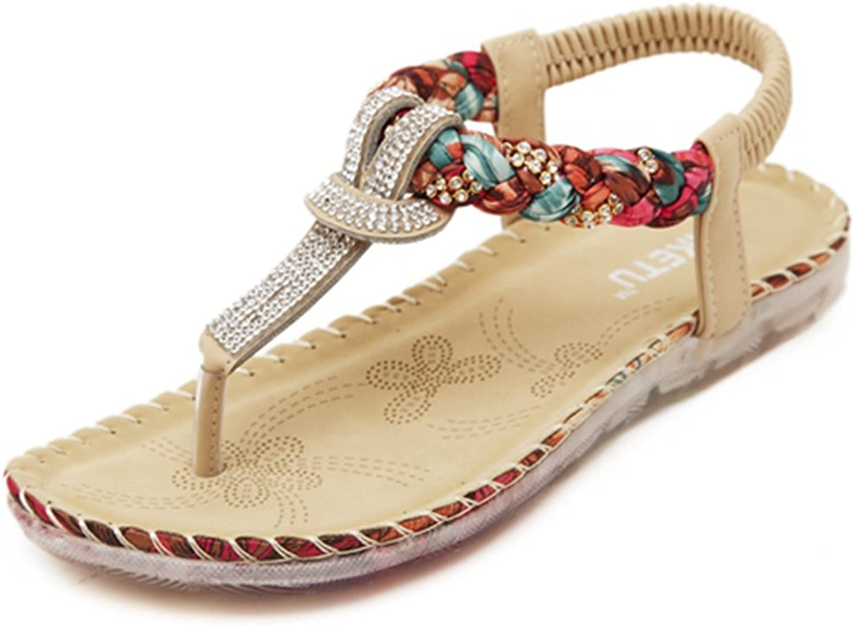 Zarbrina Women's Flat Sandals Fashion Rhinestones Bohemian Prime Thong shoes Beads Beach Soft Sole Wear
