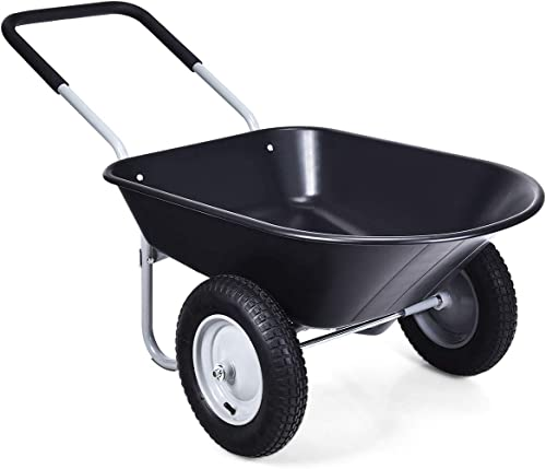 popular Goplus Dual Wheel Wheelbarrow, Heavy Duty Garden Cart, 330 lbs Capacity Utility outlet sale Cart with Two 13 new arrival inches Pneumatic Tires for Outdoor Lawn Yard Farm Ranch outlet online sale