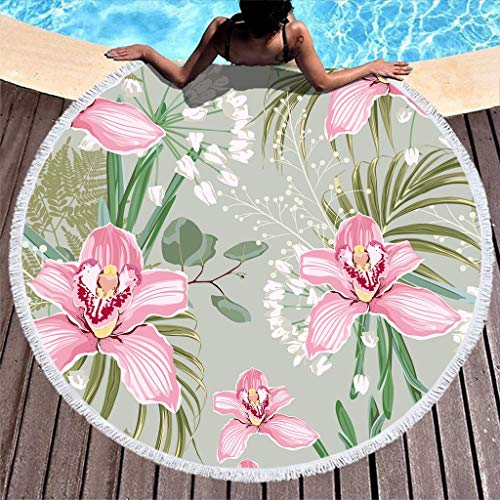 yjduop Thick Round Circle Beach Cushion Pool-Towels Floral Pattern Beach Towel Blanket Outdoor Picnic Mat Super Water Absorbent Pool Mat for Yoga Picnic white3 59 inch