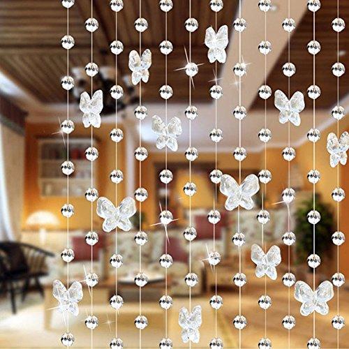 szlsl88 kristallen gordijn Shiny Window Home Decor ruimte parels verdeler DIY Glitter String Vlinder (roze)