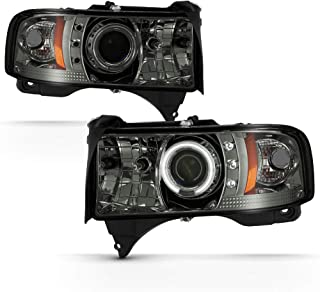 ACANII - For 1994-2001 Dodge Ram 1500 2500 3500 LED CCFL Halo Smoked Lens Projector Headlights Headlamps Pair Assembly