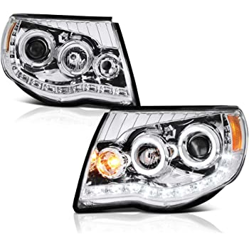 VIPMOTOZ LED Strip DRL Chrome Projector Headlight Lamp Assembly For 2005-2011 Toyota Tacoma Pickup Truck, Driver & Passenger Side