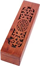 Rosewood Incense Burner Box Incense Stick Holder Wooden Hollow Hand Carved Coffin Box for Home Sticks Cones(Double Happiness)