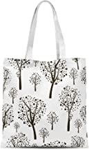 threetothree Plain Canvas Tote Bags for Women, Large Tote Bag Graphic Seamless Black Trees Canvas Reusable Grocery Bags Sh...
