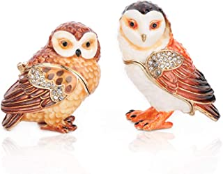 THREE FISH CRYSTAL 2 Pcs Owl Trinket Box Hinged Hand-Painted Figurine Collectible Ring Holder Gift Box(Owl Set)