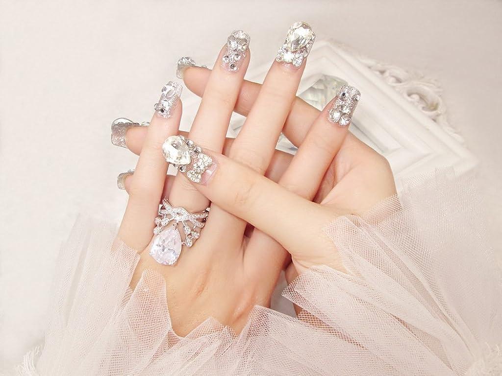 従順国歌広告花嫁ネイル 手作りネイルチップ ラインストーンリボンが輝く フルチップ シンプル ネイルチップ24枚セット 人造ダイヤモンド 両面接着テープ付き 結婚式、パーティー、二次会などに ジルコン (A37)