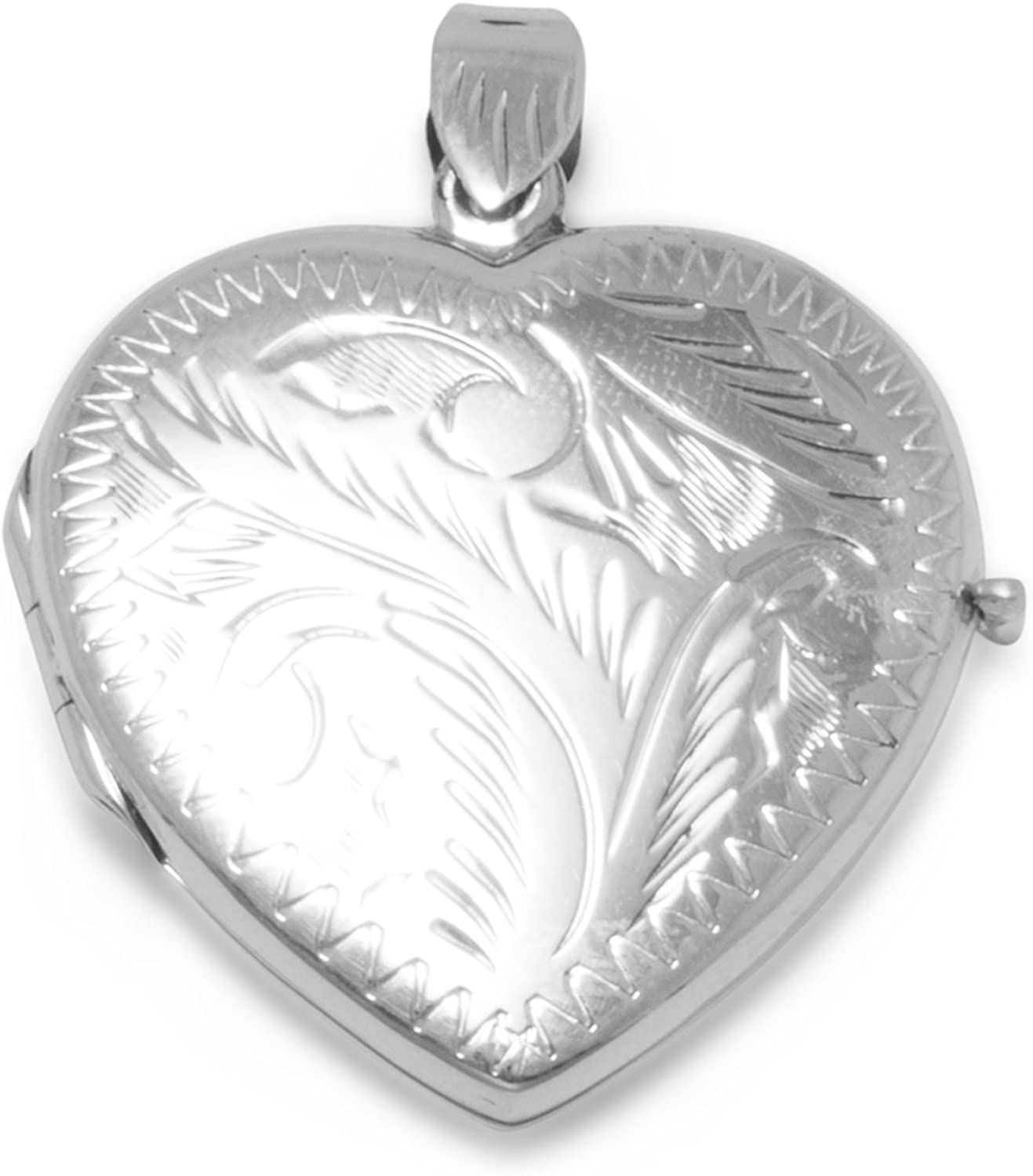 Max 63% OFF 925 depot Sterling Silver Large Etched Love Heart Pendant Locket Photo
