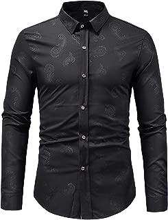 Fashion Mens Shirts Casual Paisley Print Slim Fit Button Down Dress Shirt