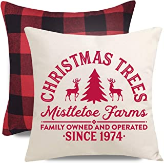 PANDICORN Set of 2 Christmas Pillows Covers for Christmas Decorations, Christmas Trees Mistletoe Farm Reindeer, Soft Red and Black Buffalo Check Plaid Throw Pillow Cases, 18x18