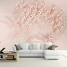 XIAOHUKK Papel tapiz autoadhesivo 3d mural flor de oro rosa arte mural calcomanías de pared sala de estar dormitorio decor...