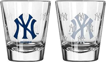 Boelter Brands MLB New York Yankees Shot GlassSatin Etch Style 2 Pack, Team Color, One Size
