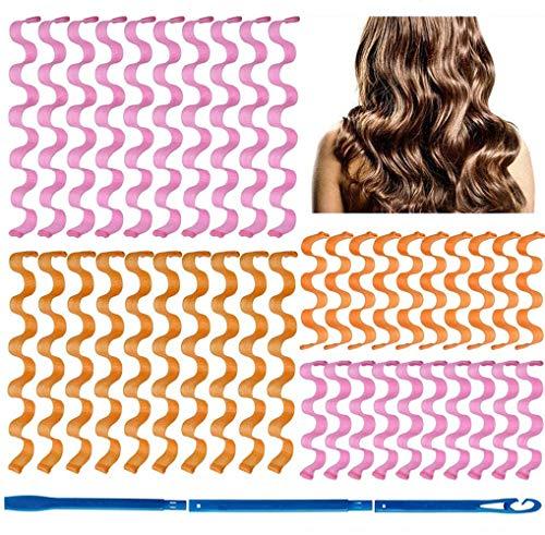 Tingz 40 Piezas Sin Rizadores de Calor,Magic Hair Curlers Spiral Curls Styling Kit,Con 3 Piezas Ganchos de Peinado para Cabello Largo la Mayoría de Los Tipos de Peinados