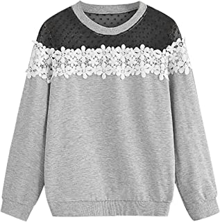 Holzkary Women's Casual Lace Patchwork Tops Plus Size Pure Color O-Neck Pullover Sweatshirt