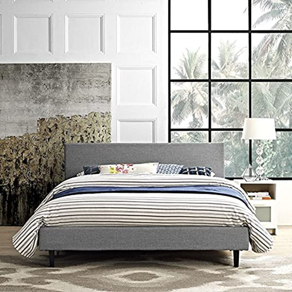 Modway Anya Upholstered Light Gray Platform Bed With Wood Slat Support In Queen
