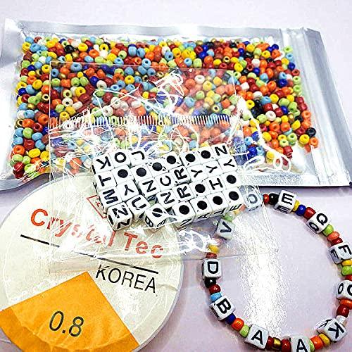 Juego de cuentas redondas de 3 mm, multicolor, con hilo de seda, para hacer pulseras y manualidades
