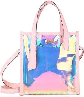 Holographic Laser Messenger Bags Jelly Rainbow Hologram Transparent Handbag for Women Composite Bag Ladies Shoulder Bag,Pink