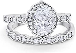 Two Piece Art Deco Vintage Style Wedding Engagement Bridal Set Ring Band 925 Sterling Silver Oval Round CZ